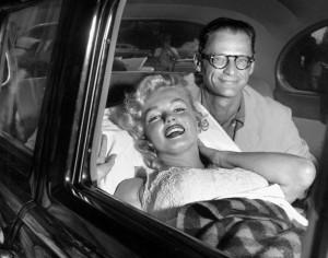 Arthur and Marilyn leaving hospital, 1957