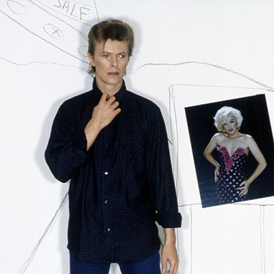 David Bowie with Linda on his wall, 1980s.