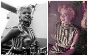Jayne wears the same striped top Marilyn wore for a photo shoot.