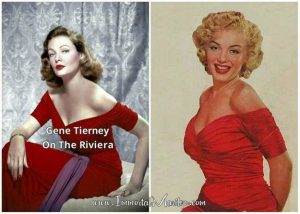 Gene and Marilyn both wearing another Cassini gown.