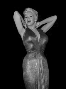 Jayne in the gold lame dress made famous by Marilyn in Gentlemen Prefer Blondes.