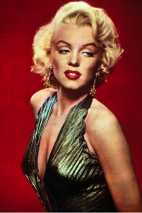 Marilyn in the gold lame dress.