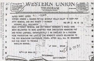 A telegram from Marilyn declining an invitation from Robert and Ethel Kennedy.