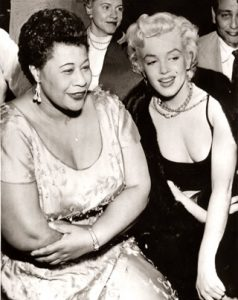 Marilyn Monroe and Ella Fitzgerald at The Tiffany Club in 1954.