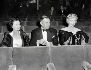 Marilyn with Lord and Lady Olivier at the premiere of A View From The Bridge, 1956